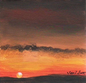 """Ochre Sunrise"", 6x6 acrylic on canvasette paper."