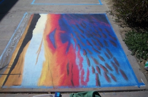 6'x6' chalk painting outside Indio City Hall.