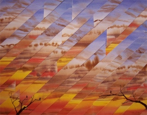 """When the Morning Comes"".  Refractured watercolor on wraparound panel.  24""x30"". $1260"