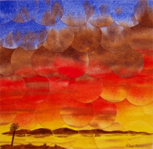 """Bright Morning"" - refractured watercolor on flat panel with acrylic edges. 12""x12"".  $180"