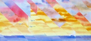 """""""Wave Crest"""" - 9x20"""" refractured watercolor on float panel.  $225."""