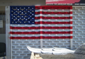 US Flag on lattice breezeway wall