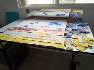 Pieces cut and and a few ideas mapped out.