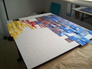 Picking up and marking the squares.