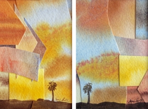 """Faith in Duality"" #1 and #2, watercolor collages"