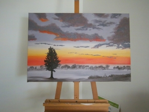 Painting of larch tree against misty dawn