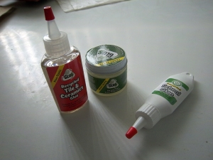 Three sample glues from Nine Lives Products