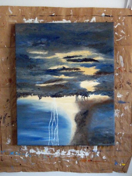 oil painting of lightning storm