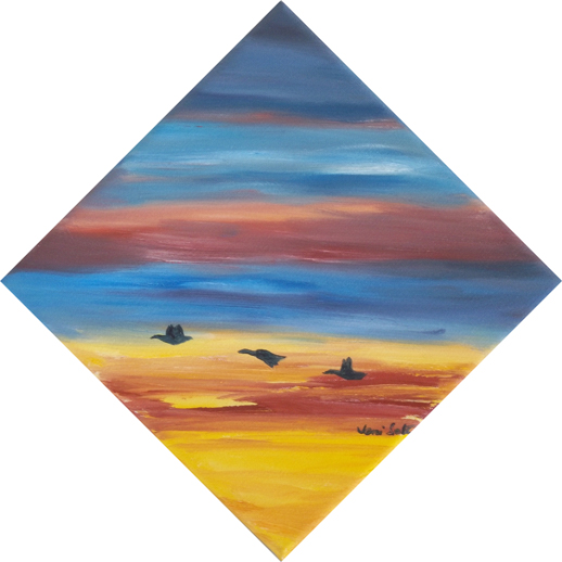 Oil painting birds flying