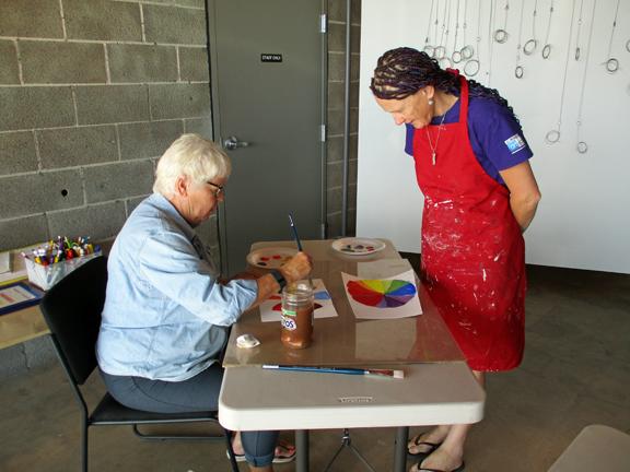 Jeni Bate teaching beginning painting class