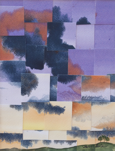 Refractured watercolor painting