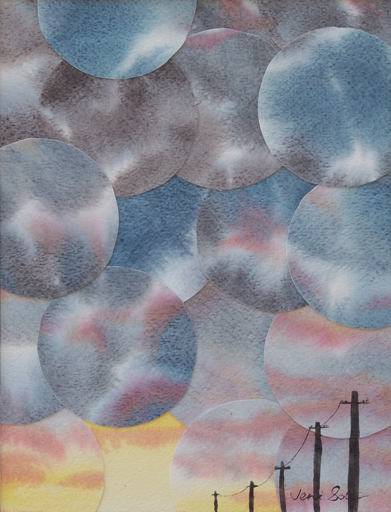 Refractured watercolor sky painting