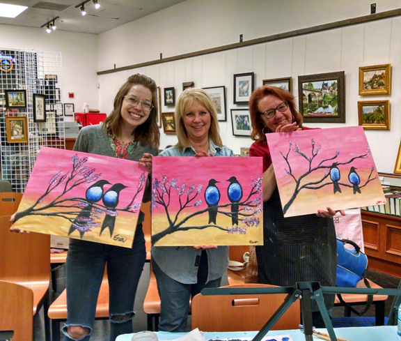 Painters at paint and wine evening