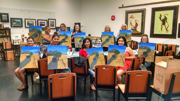 Paint-the-night paint and wine class