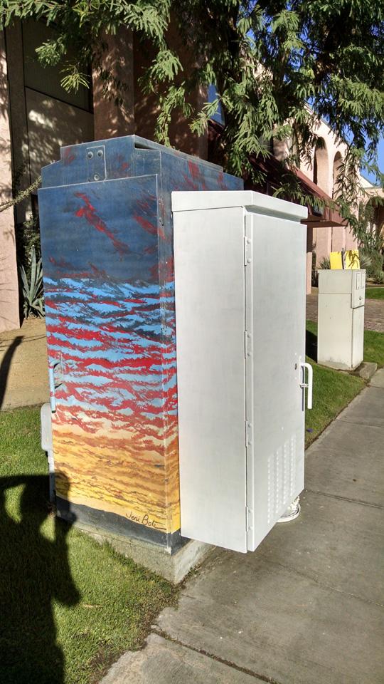 Traffic signal box mural