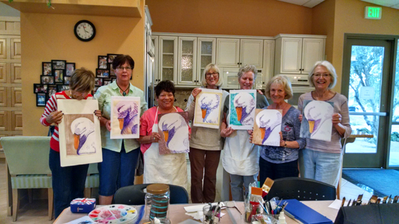 Watercolor class students