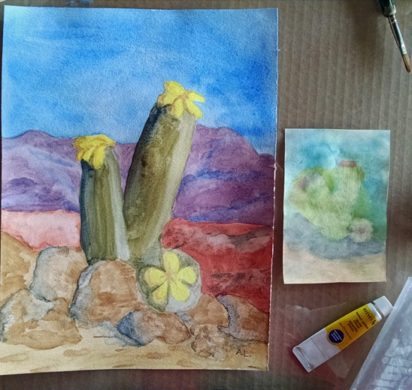 After and before cactus paintings