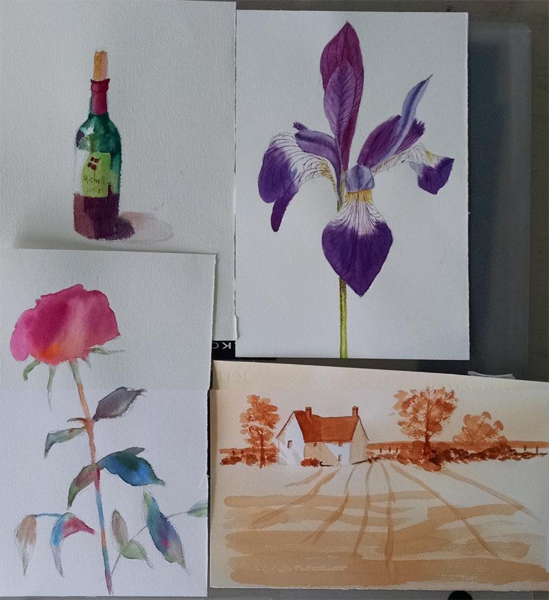 Student watercolor work