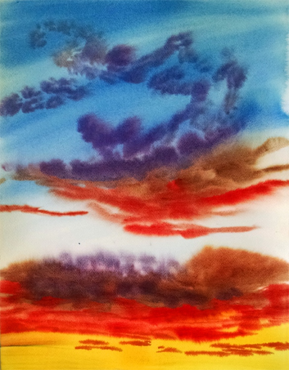 Watercolor skyscape painting