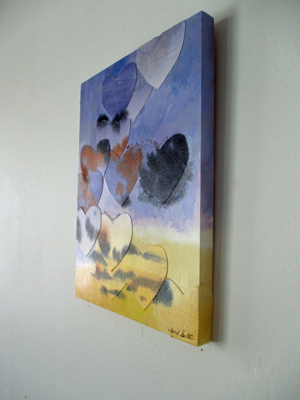 Mixed media painting on a wall