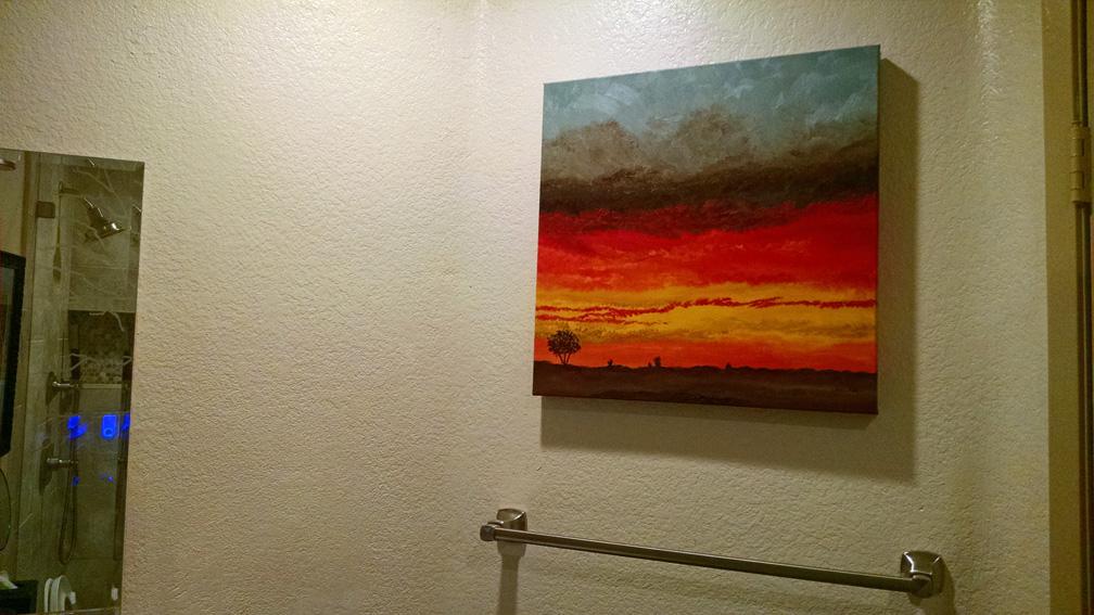 Painting in guest bathroom