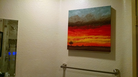 Painting in guest bathroom