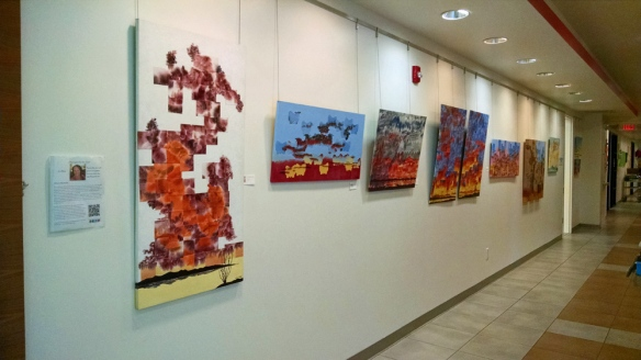 Jeni Bate refractured watercolors and mixed media paintings at Indio Senior Center