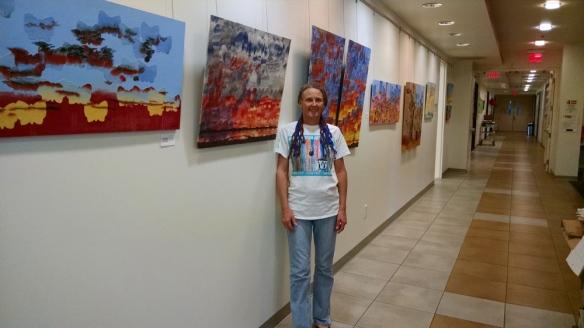 Jeni Bate refractured watercolors and mixed media paintings at Indio Senior Center