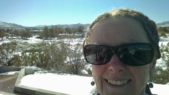 Jeni in Yucca Valley after snowstorm.