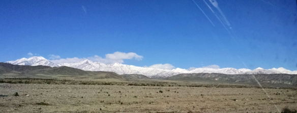 Snow on the grade up to Morongo