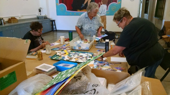 students at the watercolor collage workshop