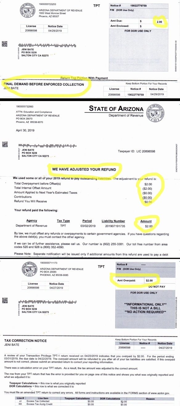 AZ sales tax collection notice, adjustment and refund