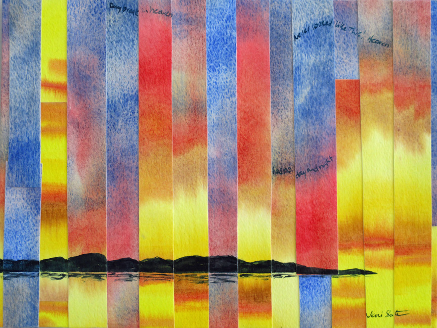 refractured watercolor dawn painting