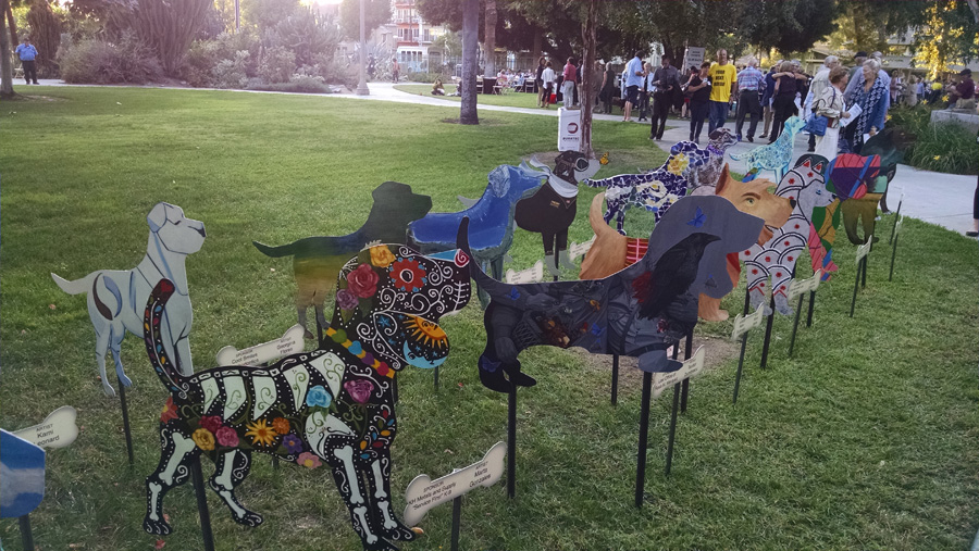 Painted metal dogs
